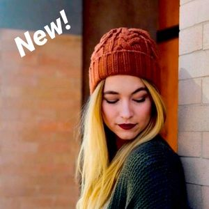Soft Luxe Fold Over Beanie in Rust